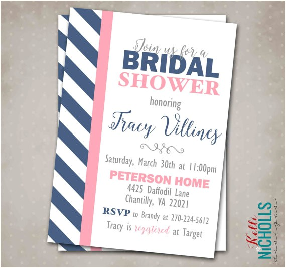 custom modern navy blush bridal shower