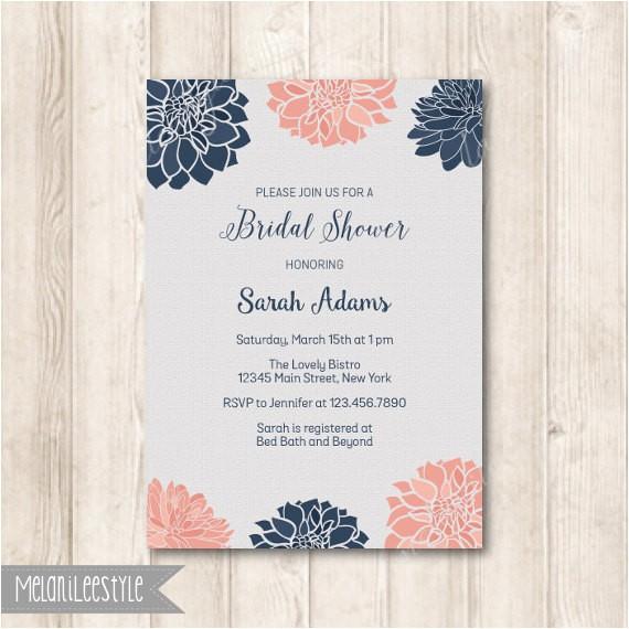 navy and blush dahlia floral bridal