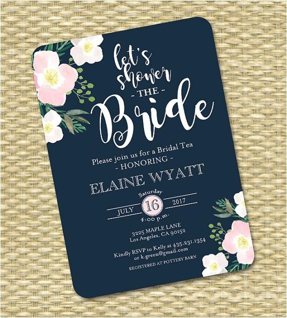 navy blush bridal shower invitation floral