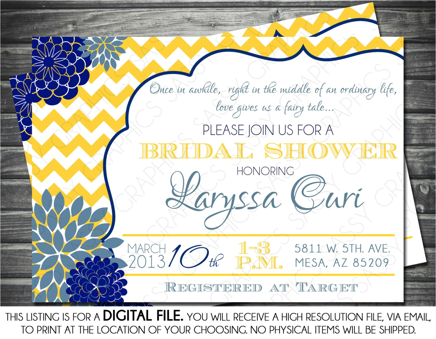 bridal shower invitation chevron yellow