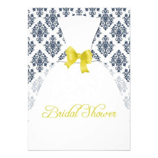 navy and yellow damask bridal shower wedding dress invitation