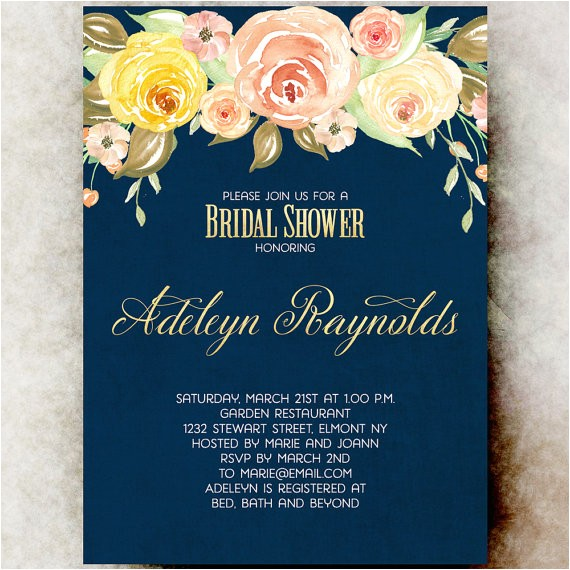 navy blue bridal shower invitation