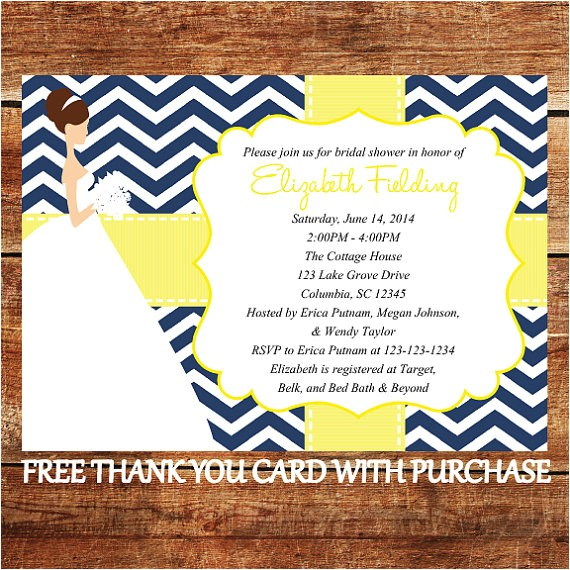 printable bridal shower invitation navy