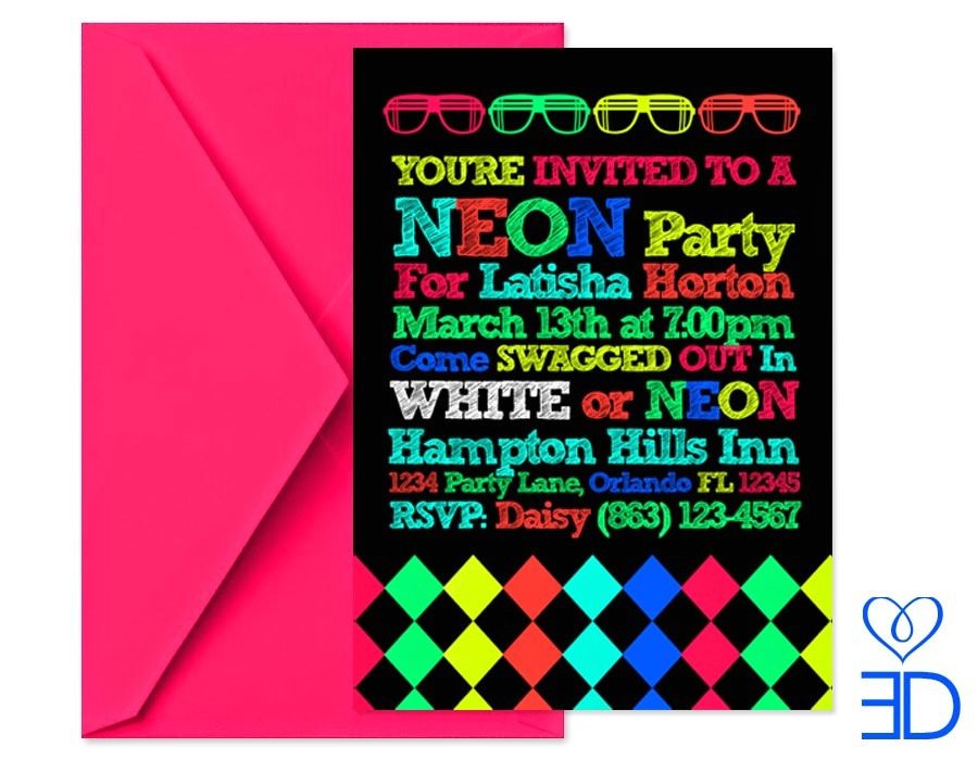 neon party invitations template