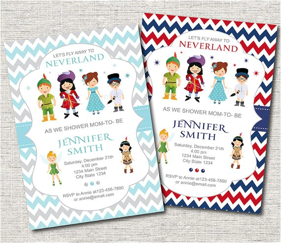 neverland baby shower invitation peter