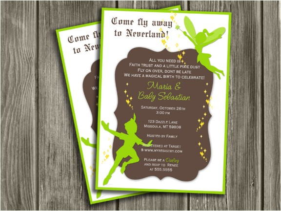 Neverland Baby shower Invitation FREE thank you card included