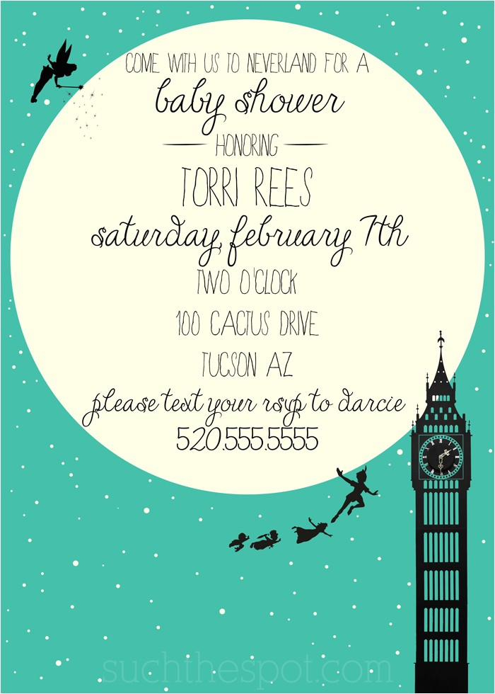 Neverland Baby Shower Invitations Neverland themed Baby Shower Such the Spot