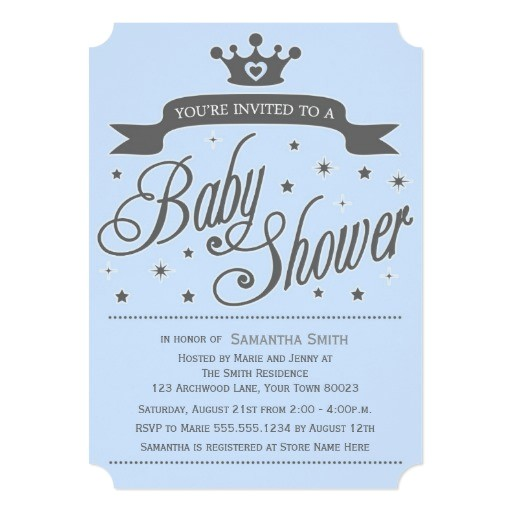 blue gray little prince baby shower invitation
