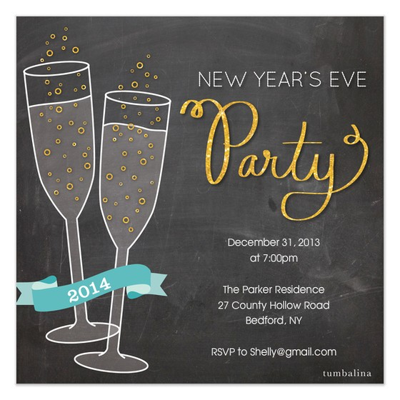 new year invite champagne party
