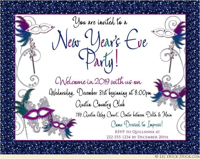 new years eve masquerade gala invitation