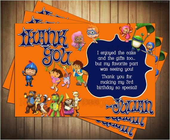 nick jr birthday invitation and thank