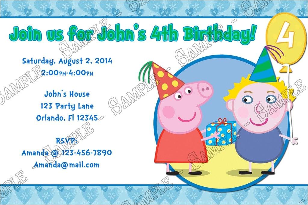 nick jr peppa pig birthday boy party invitation
