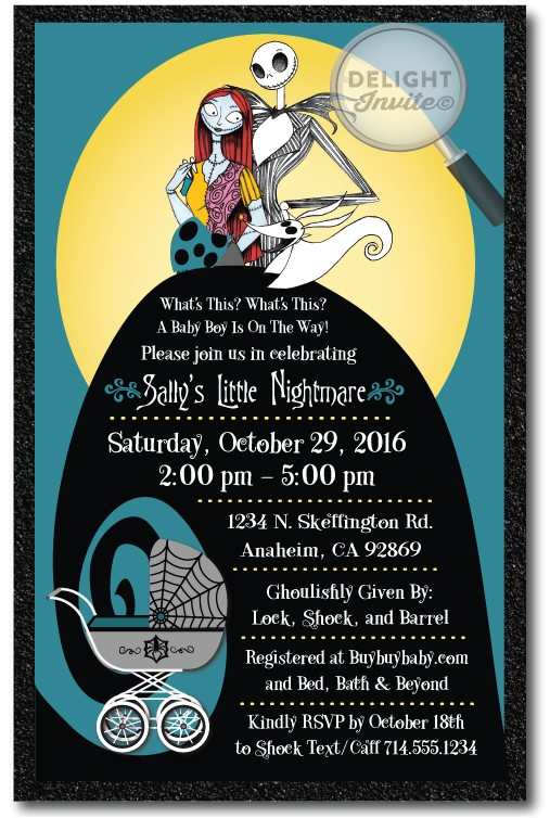nightmare before christmas baby shower invitation p 2798