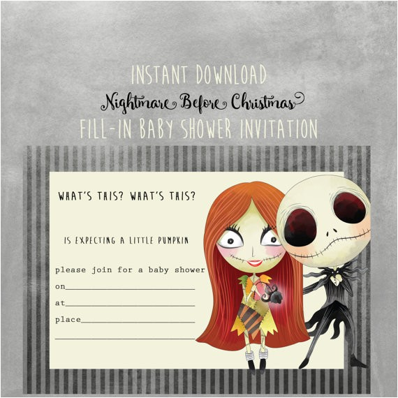 Nightmare before Christmas Baby Shower Invitations Free Download Nightmare before Christmas Baby Shower Invitation Instant