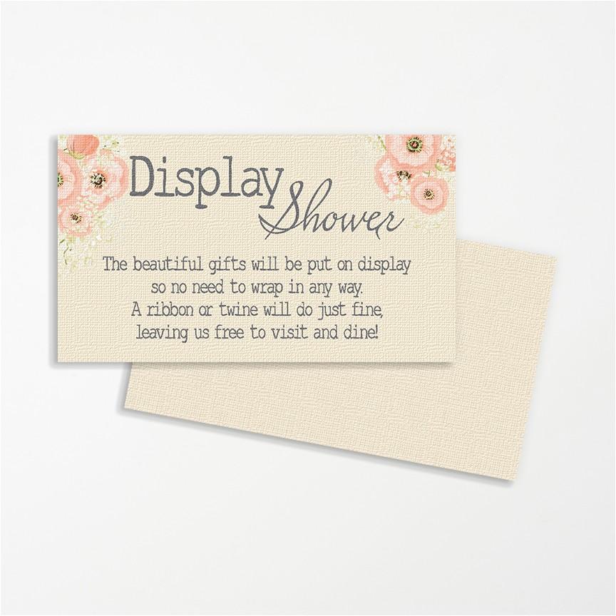 display shower invitation insert burlap flowers pink