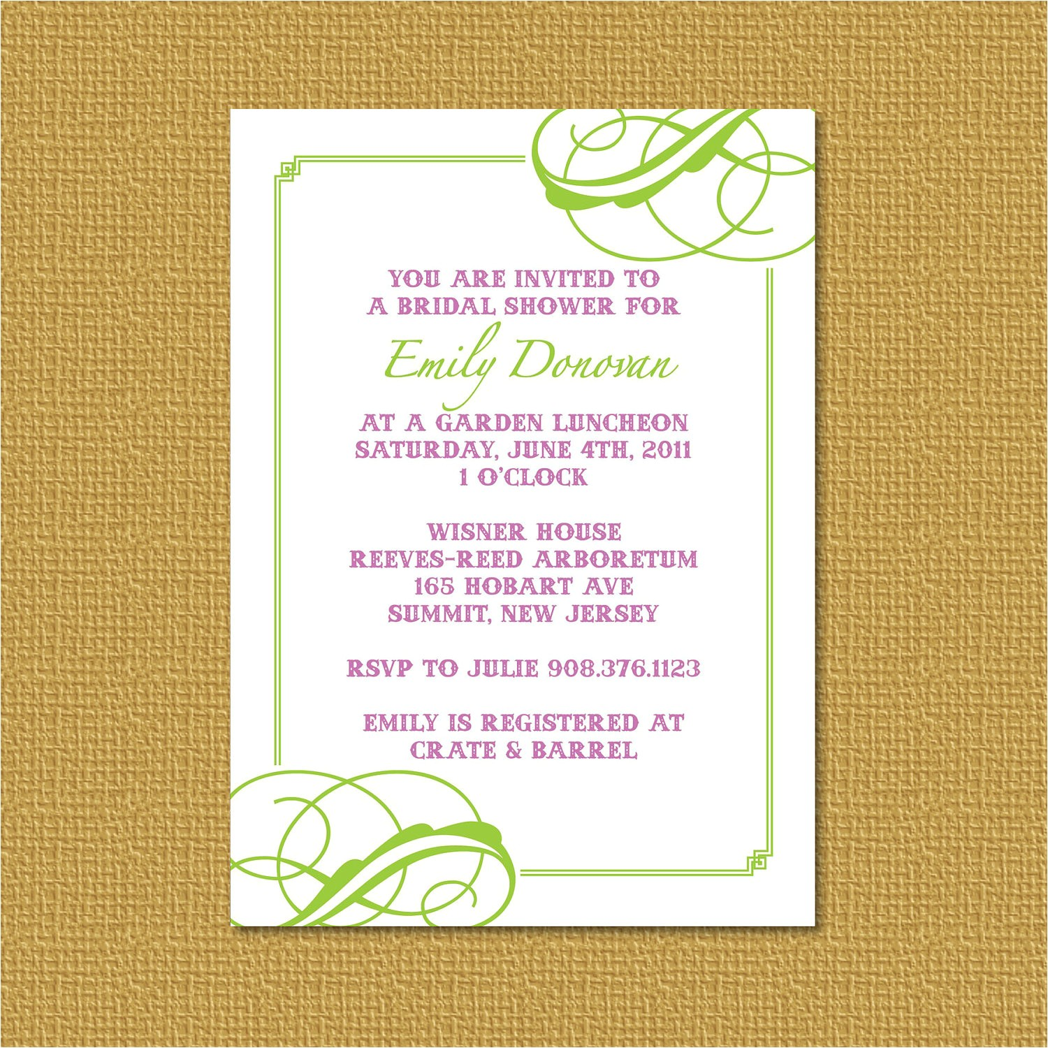 invitation wording no wrapping paper