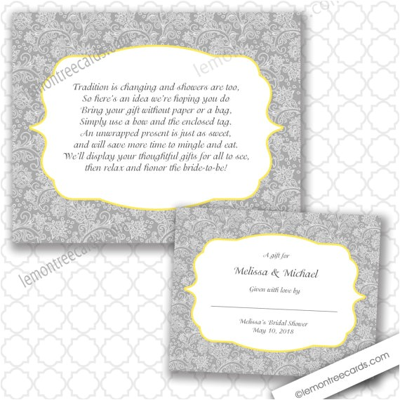 No Wrap Bridal Shower Invitation Wording No Wrap Bridal or Baby Shower Insert and Label Any Accent