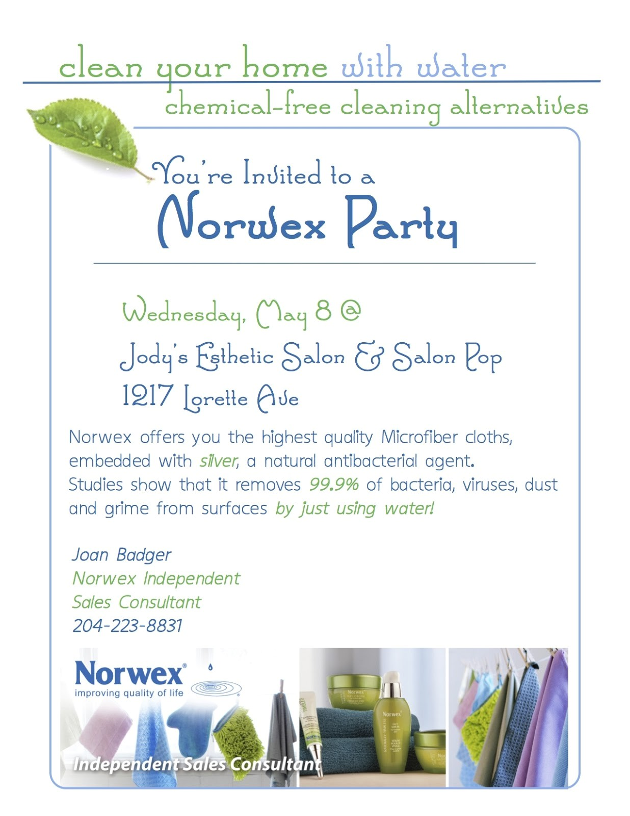 Norwex Party Invitation Sample Live Clean Live Well