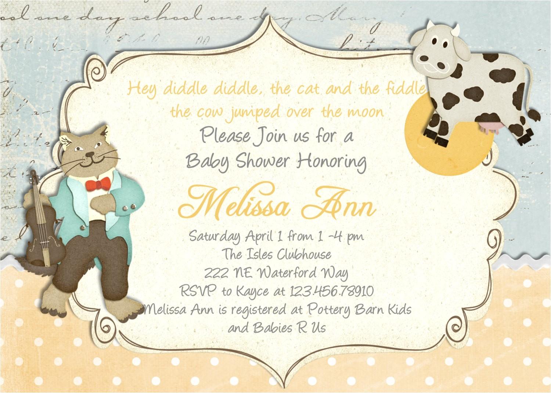 nursery rhyme baby shower invitation cow