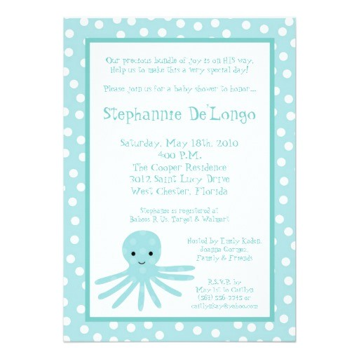 5x7 ocean sea life octopus baby shower invitation