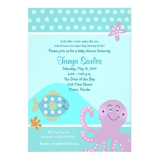 octopus fish ocean 5x7 baby shower invitation