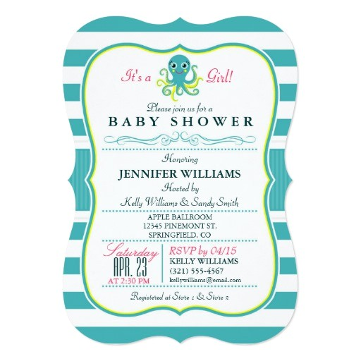 turquoise yellow octopus baby shower invitation