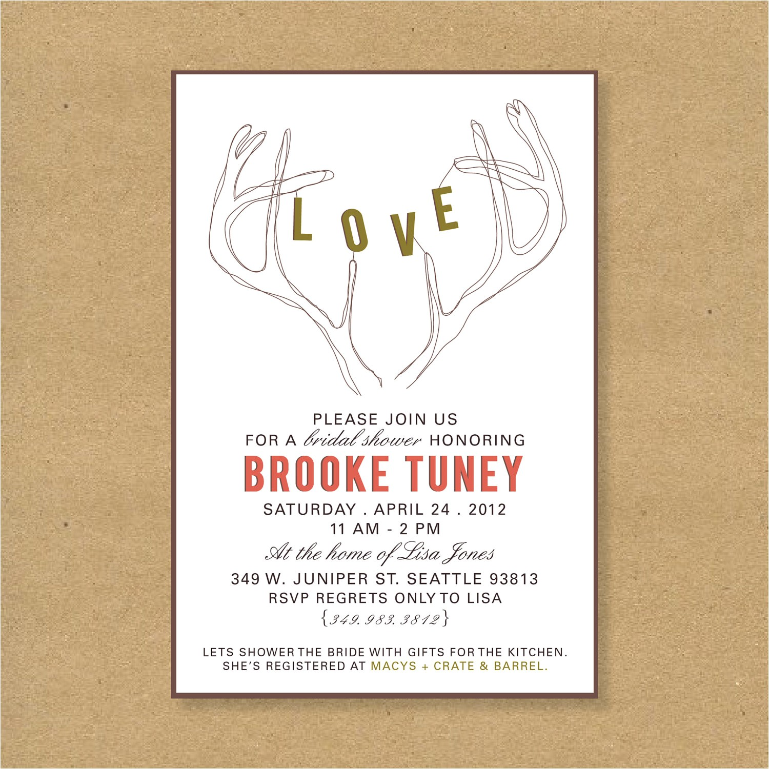 brooke tuney gift card wedding shower invitation wording typography incredible designing template best layout finishing