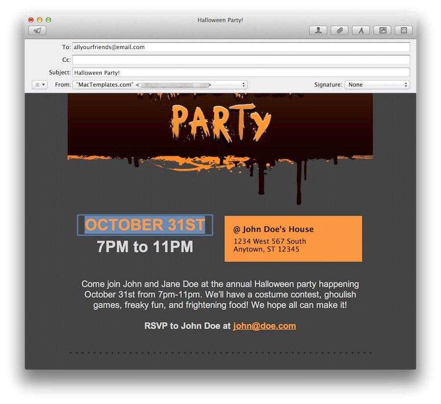 office party invitation mailtml