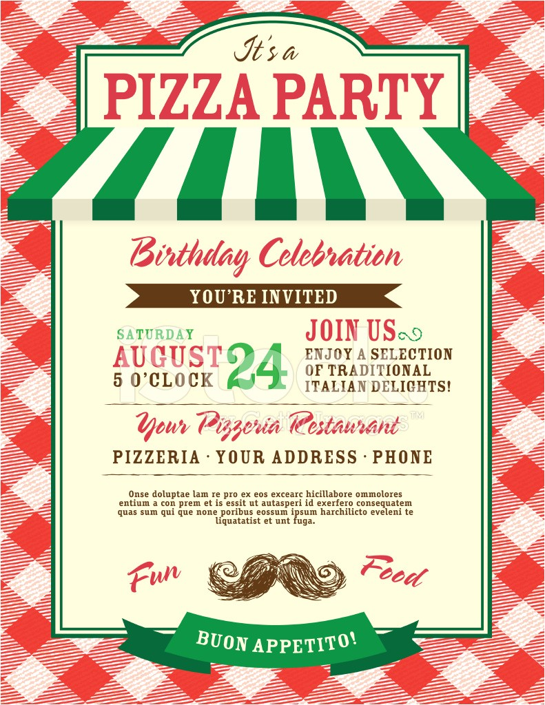pizza and birthday party invitation design template 1558965