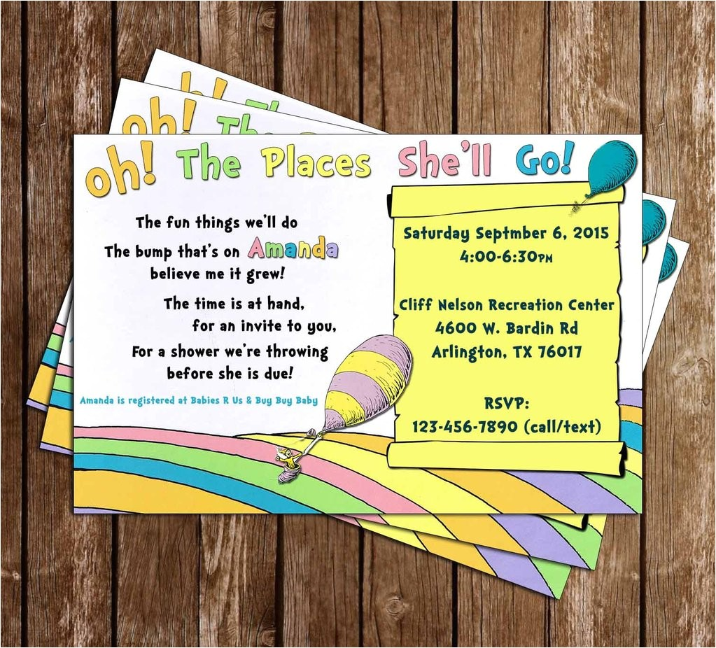 oh the places youll go baby shower invitation