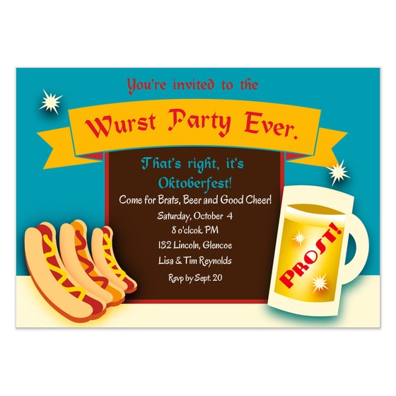 wurst party oktoberfest invitation