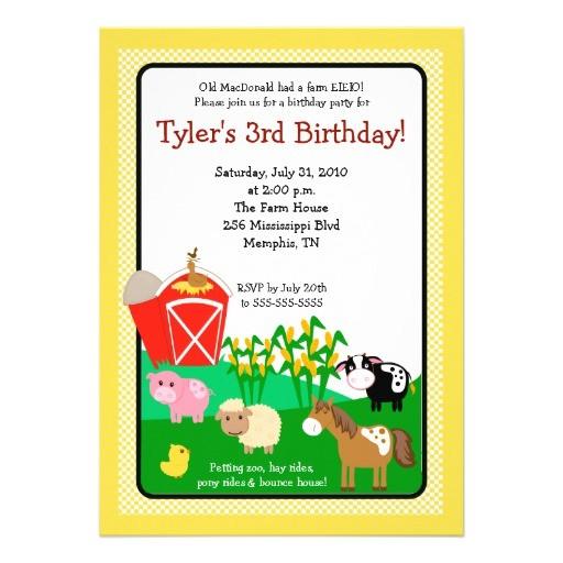 "Old Macdonald Had A Farm Birthday Invitations Old Macdonald Farm Eieio 5×7 Birthday Invitation 5"" X 7"