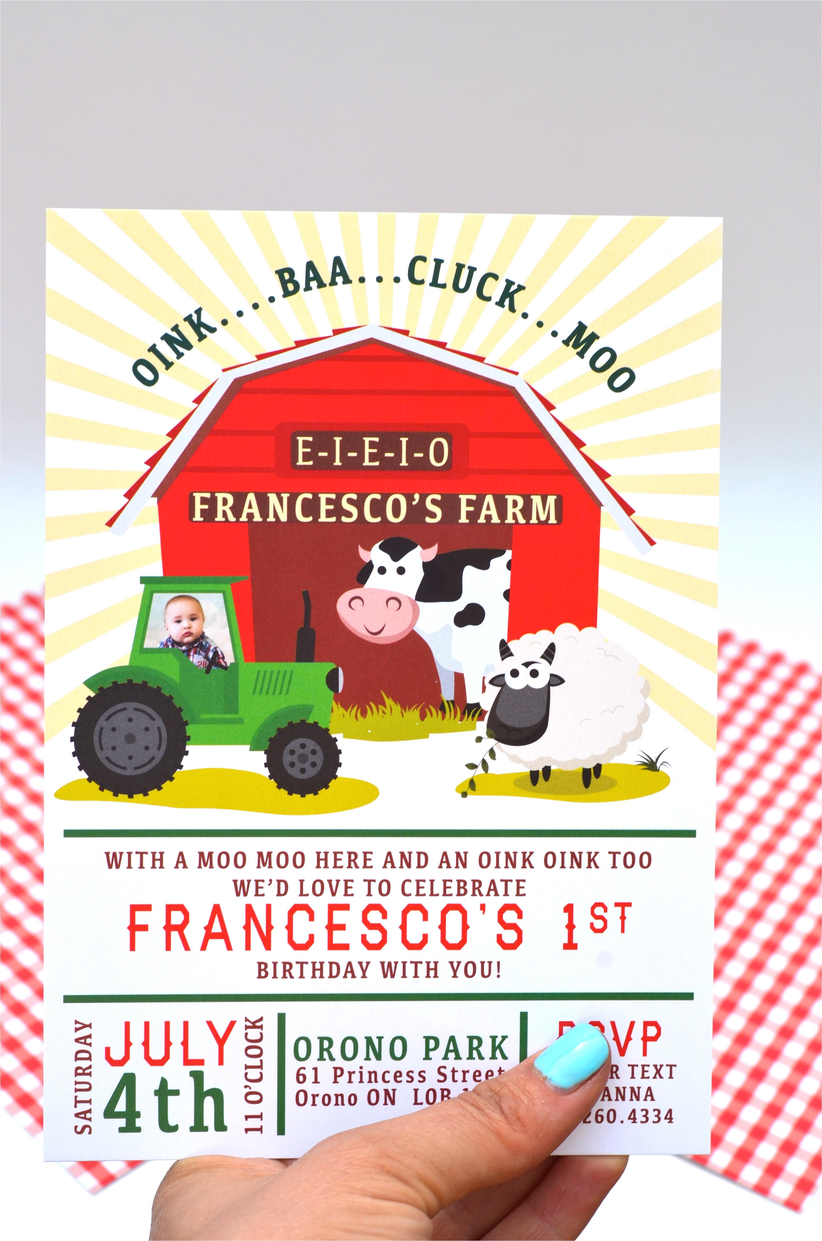 old macdonald had a farm birthday invitations