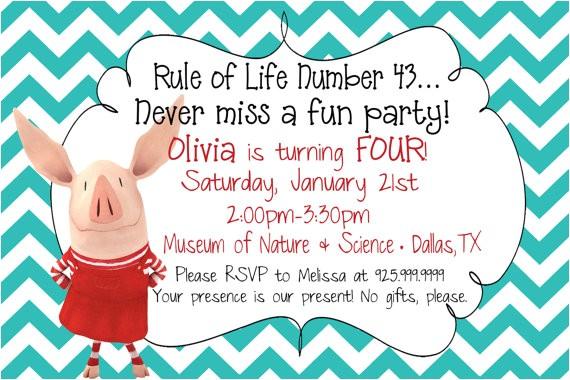 olivia the pig birthday invitations