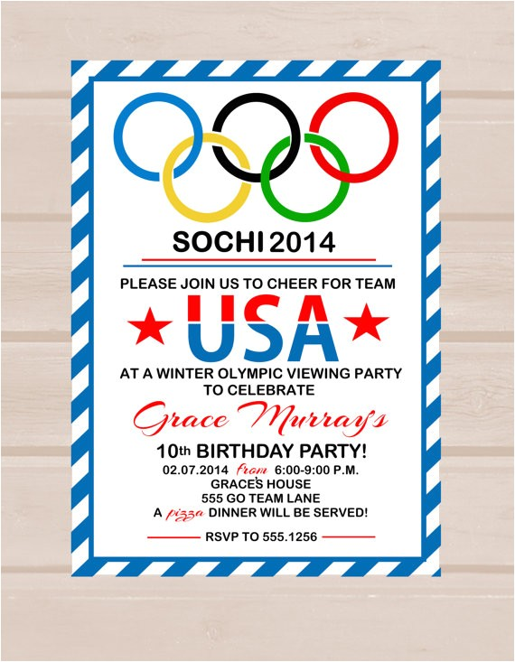 printable olympic party invitation