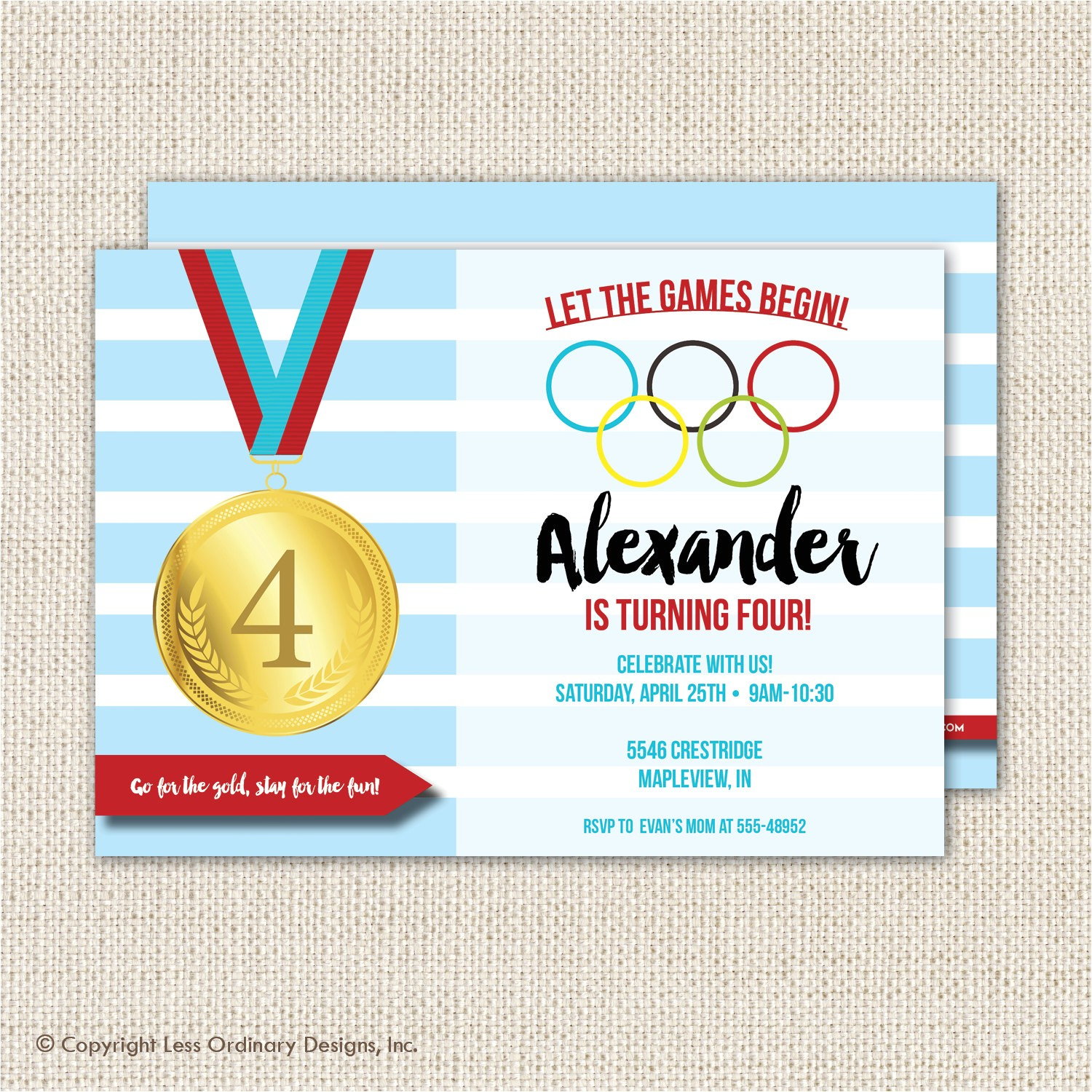 olympics birthday party invitation
