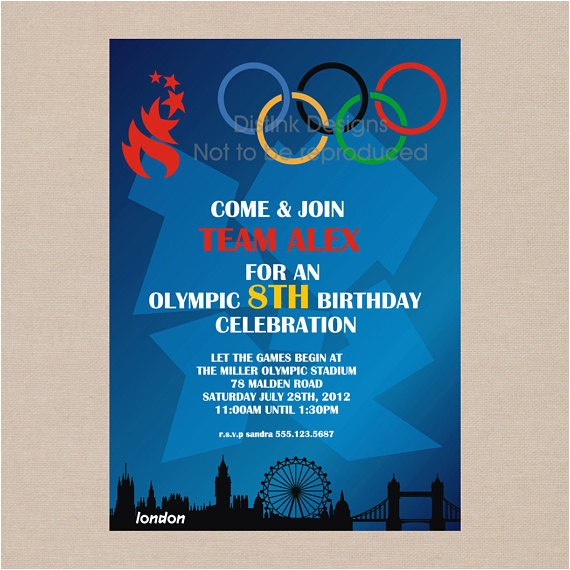 sale olympic games party invitation
