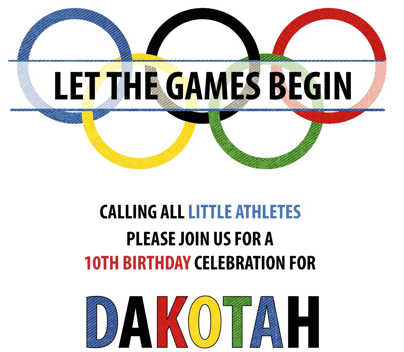 our little athlete olympic party sneak