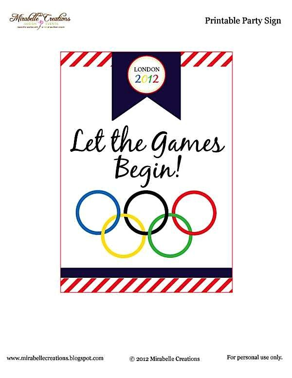 olympic themed party free printables