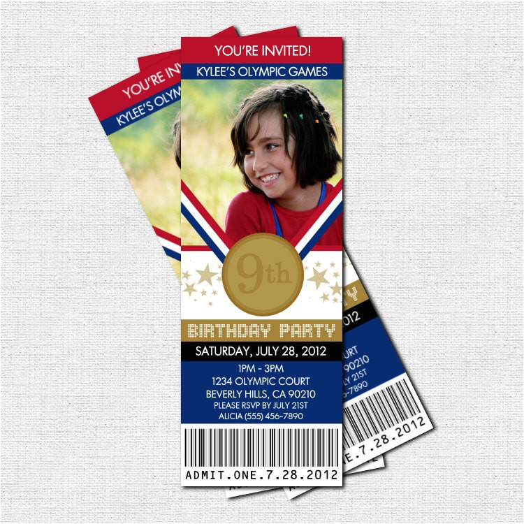 olympics ticket invitations birthday