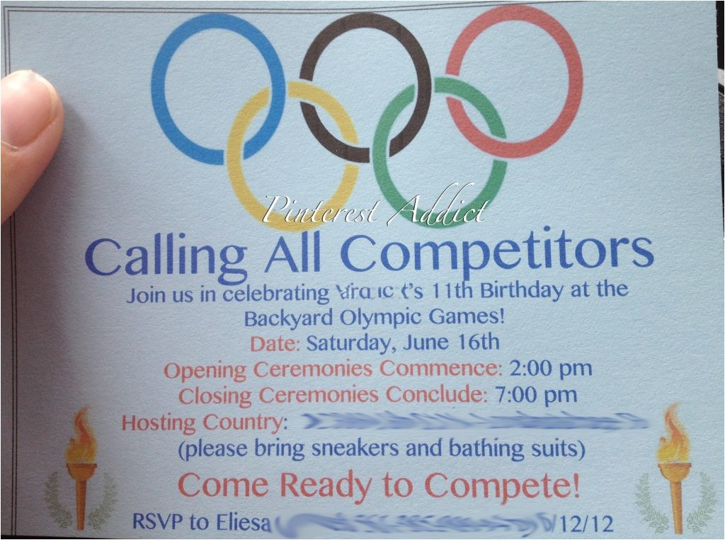 Olympics themed Party Invitations Olympic themed Birthday Party Pinterest Addict