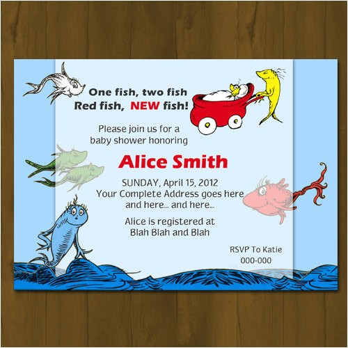 dr seuss one fish two fish baby shower invitation
