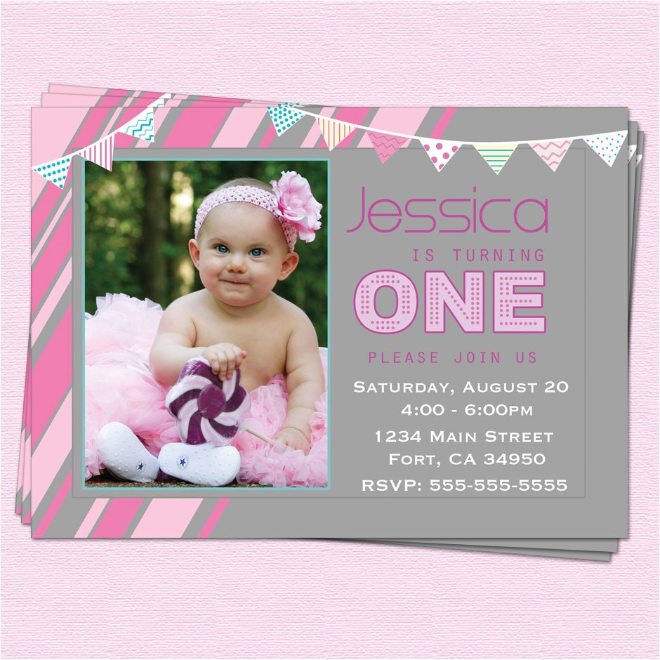 1st birthday invitations girl modern one