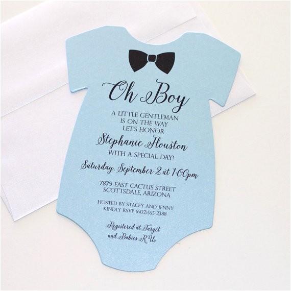 Onesie Baby Shower Invitations for Baby Boy Baby Shower Esie Invitation Blue Shower Invitation Baby