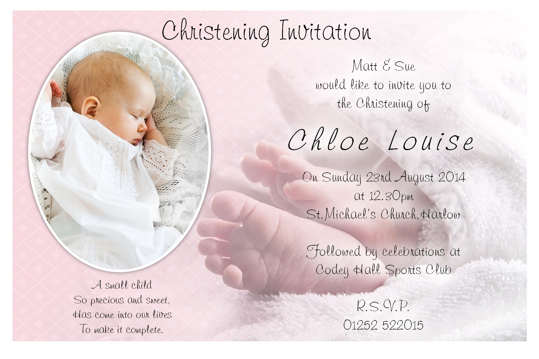free christening invitation card template 2