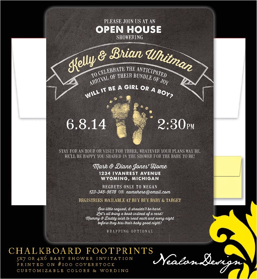 chalkboard footprints baby shower