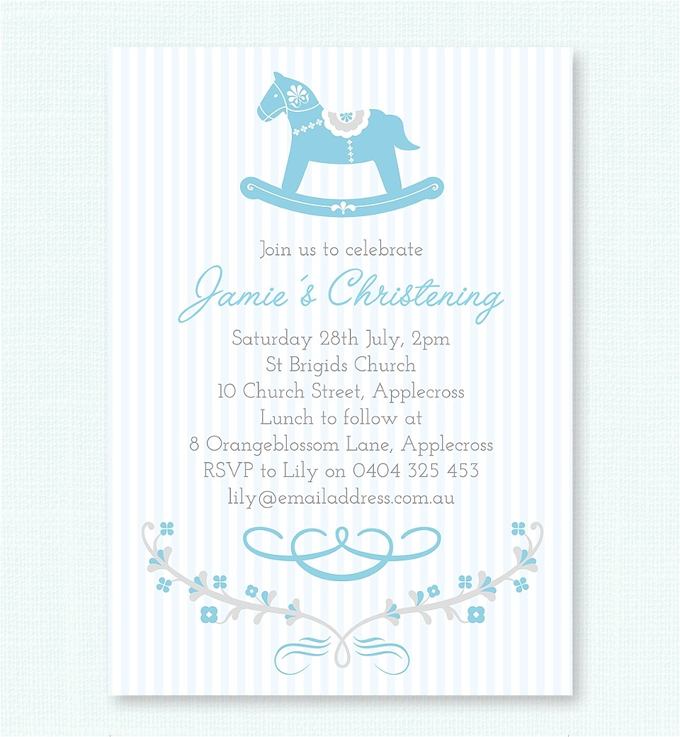 blue rocking horse christening & baptism invitation