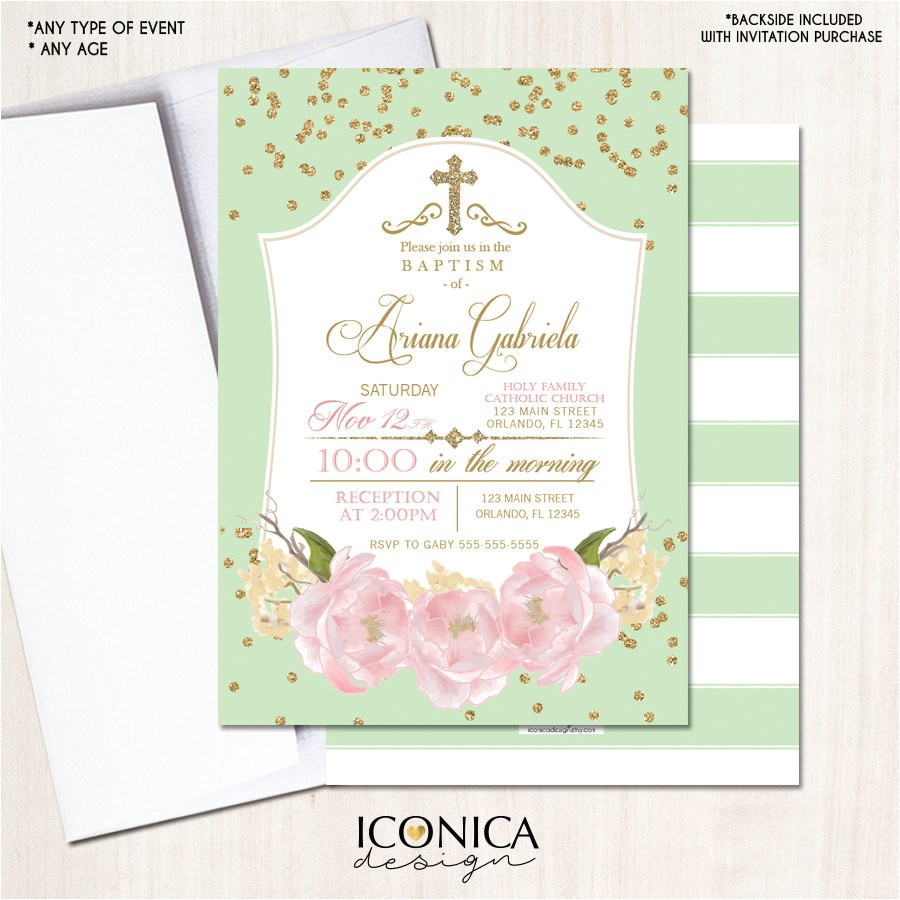 baptism invitation floral gold mint