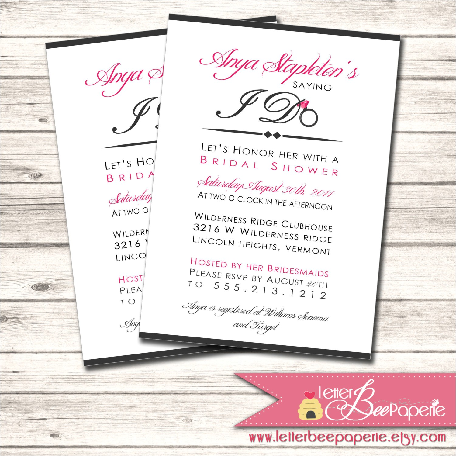 bridal shower invitation custom order to match the brides colors diy printable invite wedding rehearsal dinner engagement party