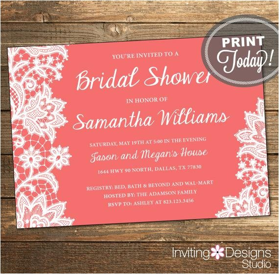 lace bridal shower invitation wedding shower invitation lace coral white printable file custom order instant
